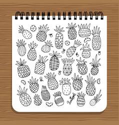 notebook design pineapples sketch vector image