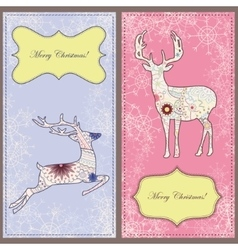 Set of christmas cards with deer vintage vector image