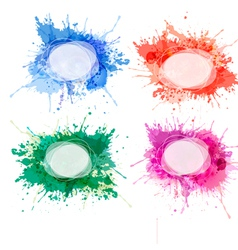 Collection of colorful abstract watercolor vector