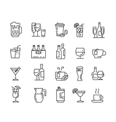 flat beverages icons vector image