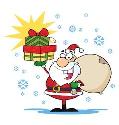 Jolly Christmas Santa Holding Up A Stack Of Gifts vector image