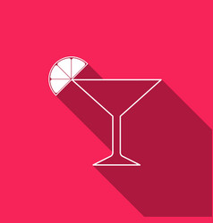 martini glass with long shadow cocktail with lime vector image vector image