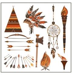 Set elements ethnic style beads wigwam fire vector image