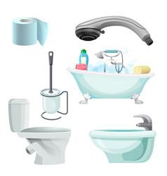 set of bathroom equipment realistic vector image