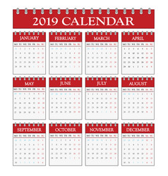 2019 office calendar vector image