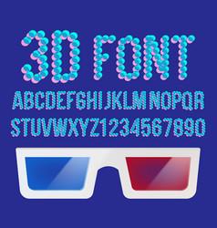 3d font pixel holographic 3d effect font vector image