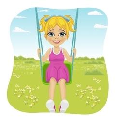 Adorable girl having fun on a swing in summer park vector