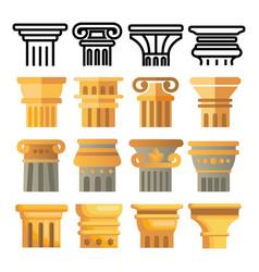 ancient column icon set architecture roman vector image