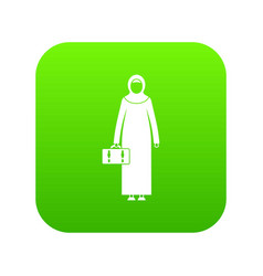 Arabic woman icon digital green vector