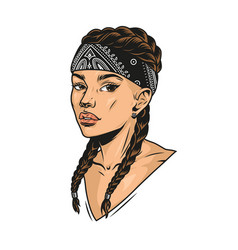 Attractive latino girl with pigtails vector