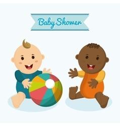 Baby boy cartoon of baby shower concept vector image
