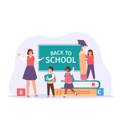 Back to school happy teacher meet students vector