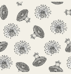 Beautiful floral seamless pattern with dandelion vector
