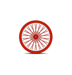 Bicycle wheel in red design with shadow vector