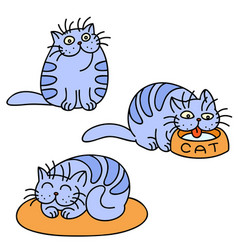 Blue cats emoticons set isolated vector