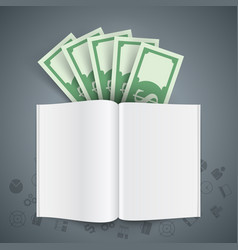Book money on the grey background vector