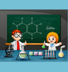 boy and girl doing chemical experiment vector image