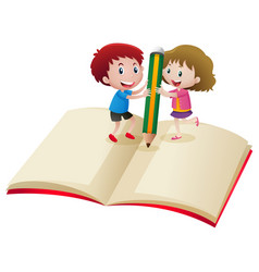 Boy and girl writing on the notebook vector