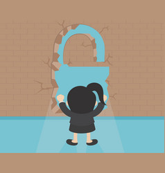 Business concept businesswoman breaking the wall vector