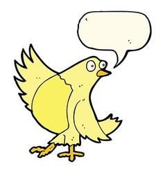 Cartoon dancing bird with speech bubble vector