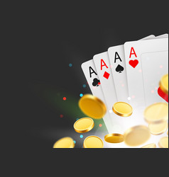 Casino poker cards background with coins and copy vector
