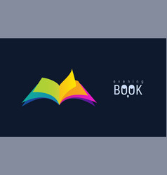 colorful open book on dark background isolated vector image
