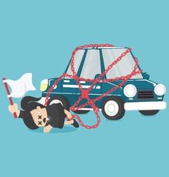 Concept business has debts of his new car vector