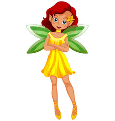 Cute fairy in yellow dress and green wings vector