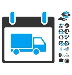 Delivery Car Calendar Day Icon With Bonus vector