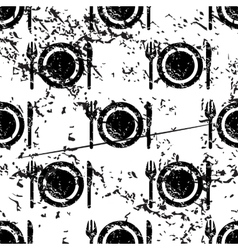 Dishware pattern grunge monochrome vector