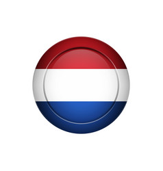dutch flag on the round button vector image