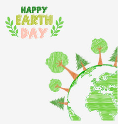 Earth day and the environment with shape paintings vector