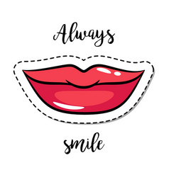 fashion patch element smiling lips vector image