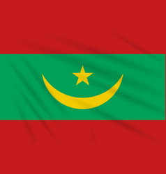 Flag mauritania swaying in the wind vector