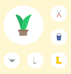 Flat icons cutter scissors bucket and other vector