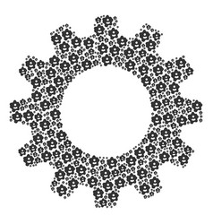 Gear wheel mosaic of amoeba icons vector
