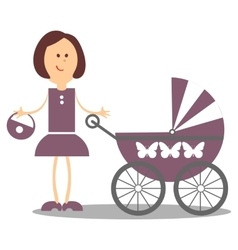 Girl walking with carriage 18 vector image vector image