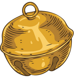Golden christmas jingle bell ball vector