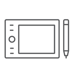 Graphic tablet thin line icon electronic digital vector
