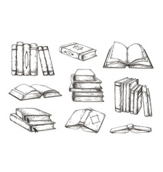 hand drawn books retro engraved pile and stack of vector image