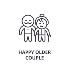 Happy older couple line icon outline sign linear vector