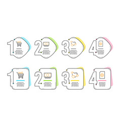 heart cash money and shopping cart icons set vector image
