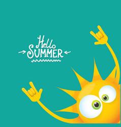 Hello summer funky rock n roll label vector