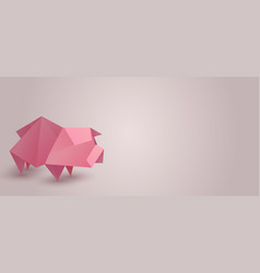 horizontal banner with origami pig and space for vector image