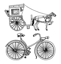 Horse-drawn carriage or coach and bicycle bike vector