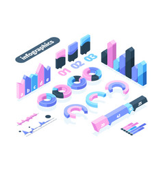 infographics isometric element set infographic vector image