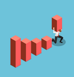 isometric businessman carry and raises bar chart vector image