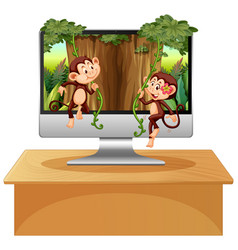 Jungle theme on computer background vector