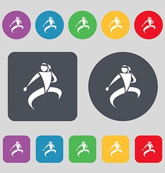 Karate kick icon sign A set of 12 colored buttons vector