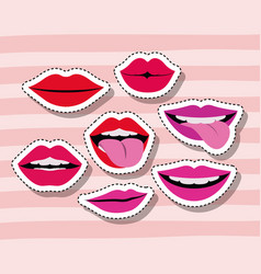 lips and mouth sticker set gesture on pop art vector image